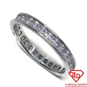 Princess Cubic Zirconia Ring white gold on Silver